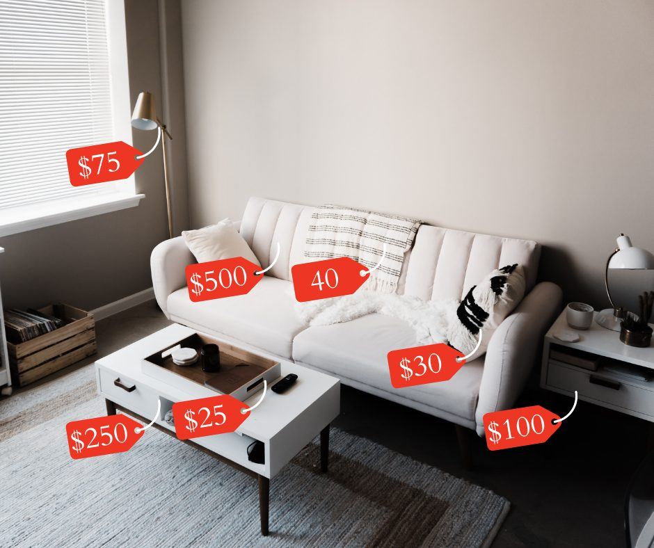 Living room with added price tags to furniture and other items